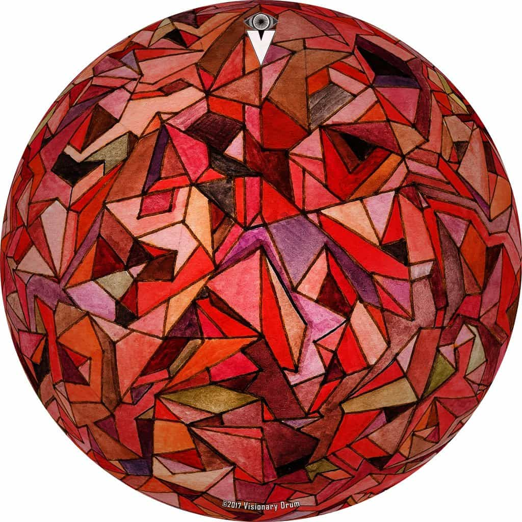 Fractured Orb design graphic drum skin by Visionary Drum; geometric drum art