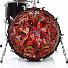 Fractured Orb Design Remo-Made Graphic Drum Head on Bass Drum; triangle pattern drum art