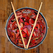 Fractured Orb Design Remo-Made Graphic Drum Head on Snare Drum; red, purple triangles drum art