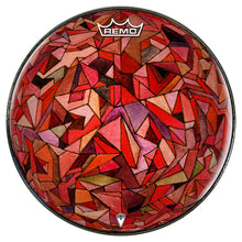 Fractured Orb Design Remo-Made Graphic Drum Head by Visionary Drum; red, geometric drum art