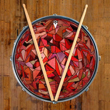 Fractured Orb design graphic drum skin on snare drum by Visionary Drum; abstract pattern drum art