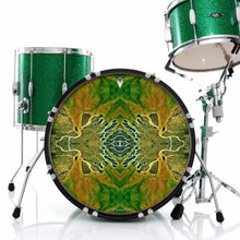 Ganges Flips graphic drum skin installed on bass drum head shown on green drum kit; mandala drum art
