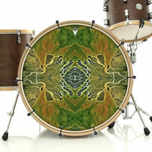 Ganges Flips bass face drum banner installed on bass drum; visionary drum art