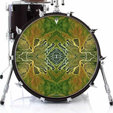 Ganges Flips design graphic drum skin on bass drum by Visionary Drum; green drum art