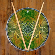 Ganges Flips design graphic drum skin on snare drum by Visionary Drum; mandala drum art