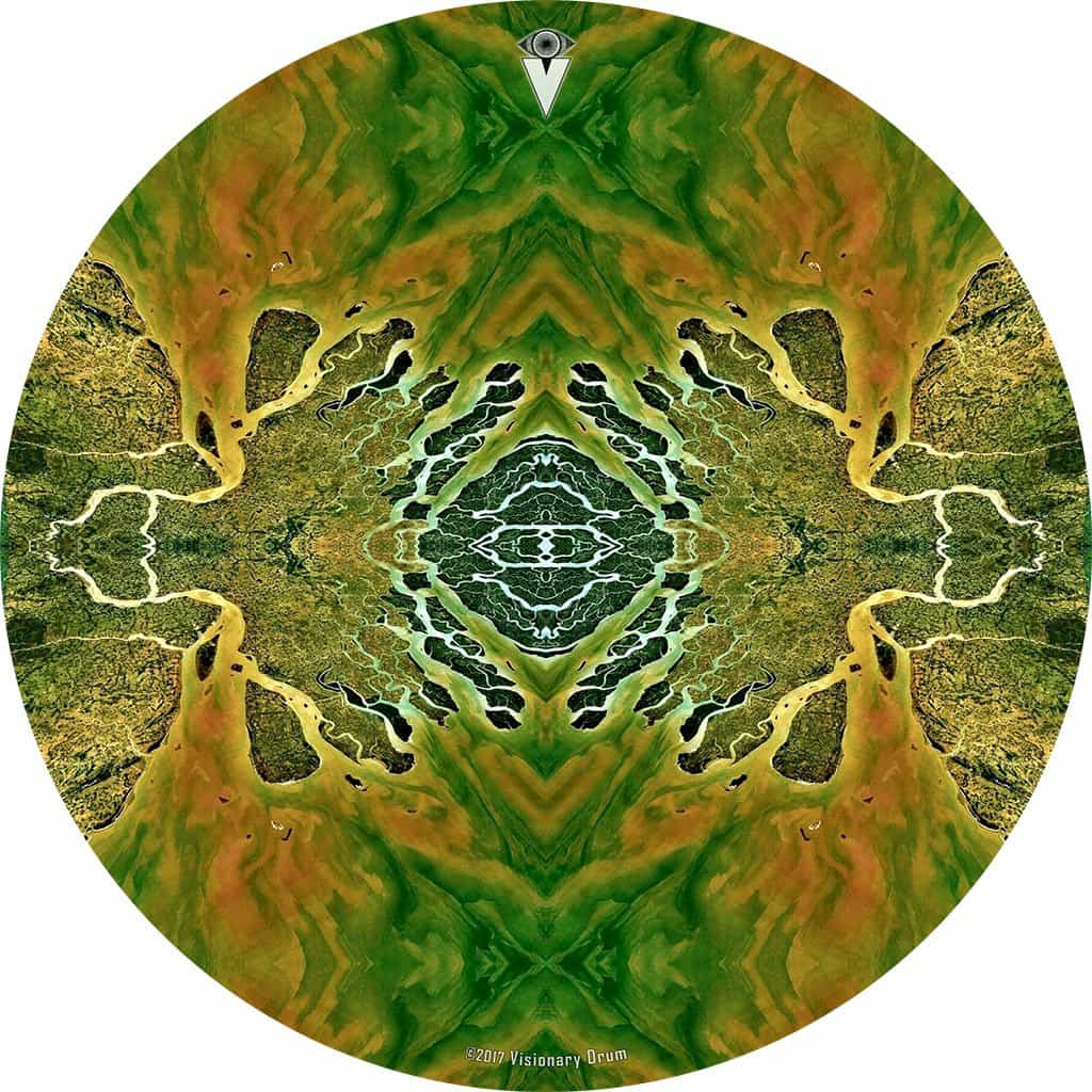 Ganges Flips design graphic drum skin by Visionary Drum; abstract drum art