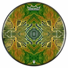 Ganges Flips Design Remo-Made Graphic Drum Head by Visionary Drum; abstract brown drum art