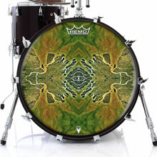 Ganges Flips Design Remo-Made Graphic Drum Head on Bass Drum; green drum art