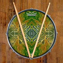 Ganges Flips Design Remo-Made Graphic Drum Head on Snare Drum; nature based drum art