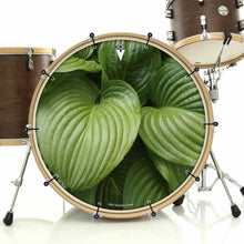Garden Leaves bass face drum banner installed on drum kit; leaf pattern drum art