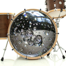 Glass bubbles bass face drum banner on drum