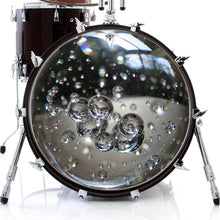 Glass bubbles drum skin on bass drum