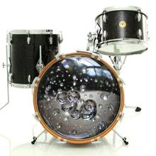 Glass bubbles drum skin on bass drum, alt