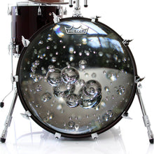 Glass bubbles drum head made by Remo on bass