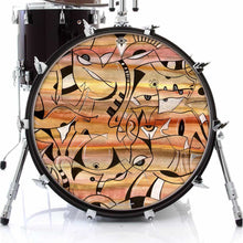 Glyph design graphic drum skin on bass drum by Visionary Drum; ink and watercolor drum art