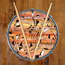 Glyph design graphic drum skin on snare drum by Visionary Drum; earth tone drum art
