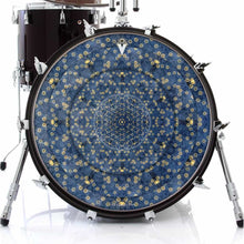 Gold Flower Portal design graphic drum skin on bass drum by Infinity Arts; mandala drum art