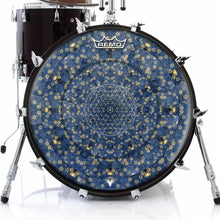 Gold Flower Portal Design Remo-Made Graphic Drum Head on Bass Drum; blue nature drum art