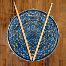Gold Flower Portal Design Remo-Made Graphic Drum Head on Snare Drum; mandala drum art