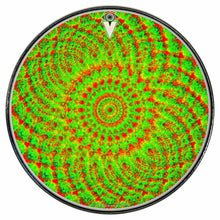 Green Living graphic drum skin installed on bass drum head by Visionary Drum; psychedelic drum art