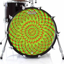 Green Living Design Remo-Made Graphic Drum Head on Bass Drum; green drum art