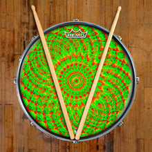 Green Living Design Remo-Made Graphic Drum Head on Snare Drum; mandala drum art