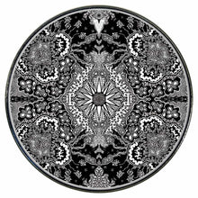Growing Sun graphic drum skin installed on bass drum head by Visionary Drum; black and white drum art