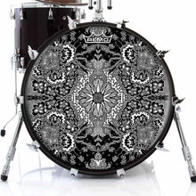 Growing Sun Design Remo-Made Graphic Drum Head on Bass Drum; black and white pattern drum art