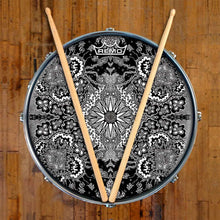 Growing Sun Design Remo-Made Graphic Drum Head on Snare Drum; black pattern drum art