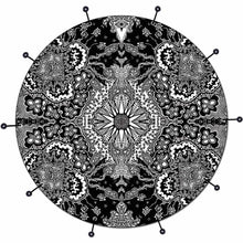 Growing Sun bass face drum banner by Visionary Drum; abstract black pattern drum art