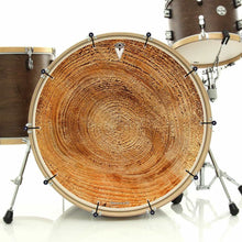 Tree growth rings graphic bass face banner removable art on drum
