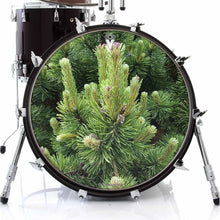 Happy Pine graphic drum skin on bass drum head by Visionary Drum; nature lover drum art
