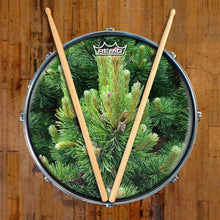 Happy Pine Design Remo-Made Graphic Drum Head on Snare Drum; green drum art