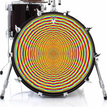 Here We Grow Again graphic drum skin on bass drum head by Visionary Drum; geometric drum art