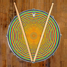 Here We Grow Again graphic drum skin on snare drum head by Visionary Drum; circle pattern drum art