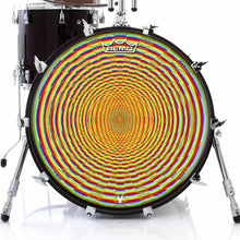 Here We Grow Again Design Remo-Made Graphic Drum Head on Bass Drum; rainbow drum art