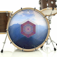 Hex Nouveau bass face drum banner installed on drum kit; mountain geometry drum art