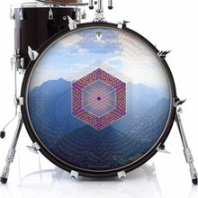 Hex Nouveau graphic drum skin on bass drum head by Visionary Drum; nature drum art