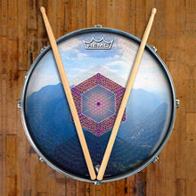 Hex Nouveau Design Remo-Made Graphic Drum Head on Snare Drum; blue drum art