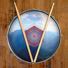 Hex Nouveau graphic drum skin on snare drum by Visionary Drum; mountain drum art