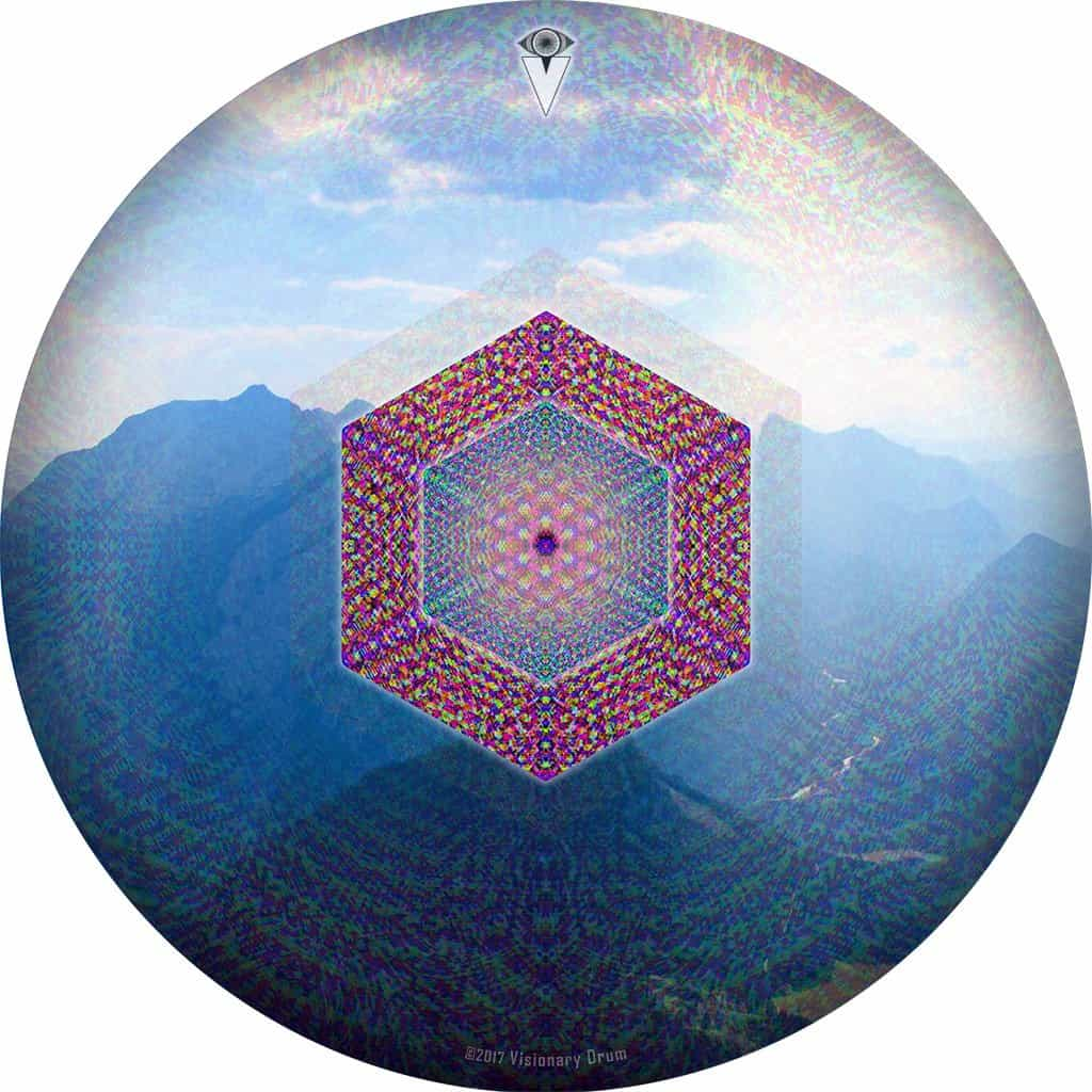 Hex Nouveau design graphic drum skin by Visionary Drum; geometric drum art
