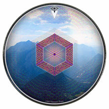 Hex Nouveau graphic drum skin installed on bass drum head by Visionary Drum; blue mountain drum art