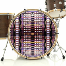 High Rise bass face drum banner by Visionary Drum; checkerboard drum art