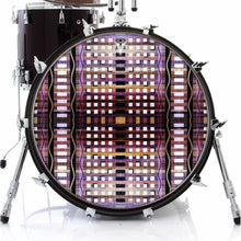 High Rise graphic drum skin on bass drum by Visionary Drum; grid pattern drum art