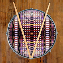 High Rise graphic drum skin on snare drum by Visionary Drum; pink and black drum art