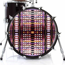 High Rise Design Remo-Made Graphic Drum Head on Bass Drum; abstract pattern drum art