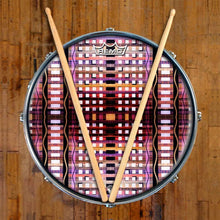 High Rise Design Remo-Made Graphic Drum Head on Snare Drum; pink pattern drum art