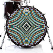 Holotropic geometric design graphic drum head on bass