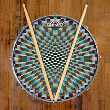 Holotropic geometric design graphic drum head on snare