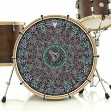 Hummingbird bass face drum banner installed on drum kit; visionary drum art